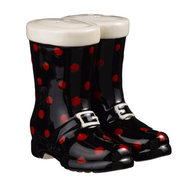 Magnetic Black with Red Polka Dot Boot Shoe Salt and Pepper