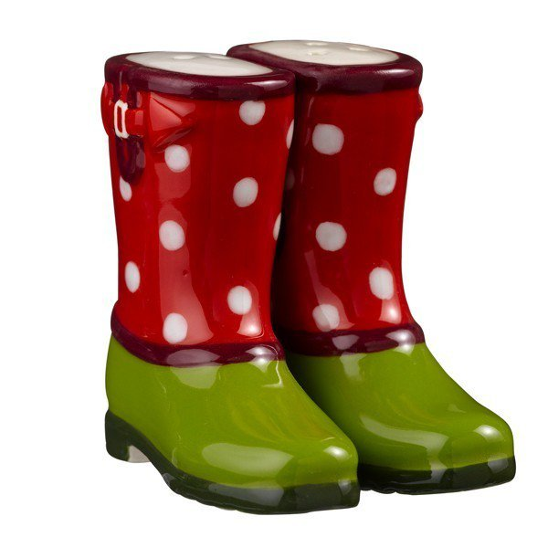 Magnetic Red and Green Boot Shoe With White Polka Dot Salt and Pepper