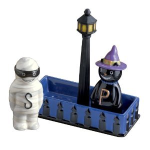 All Hallow'S Eve Halloween CAT and Mummy Salt and Pepper