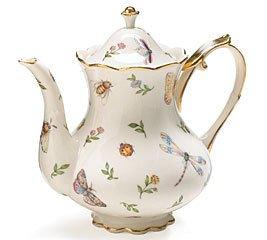 Dragonfly Butterfly Porcelain 32oz Teapot w/ Gold Trim