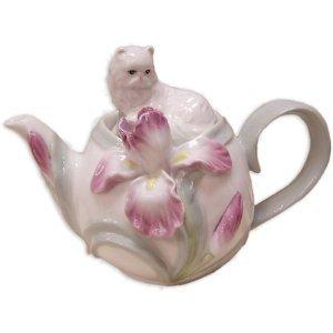 Porcelain Persian CAT With Iris Flower Teapot