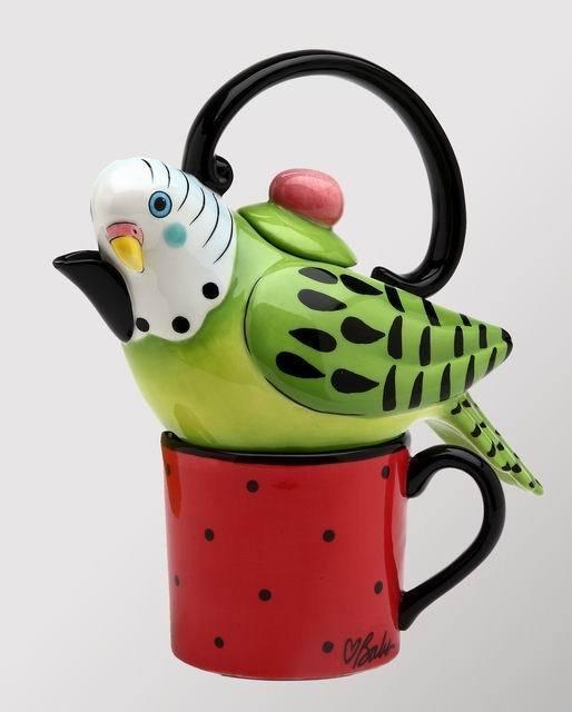 Whimsical Green Parakeet Bird Tea For One