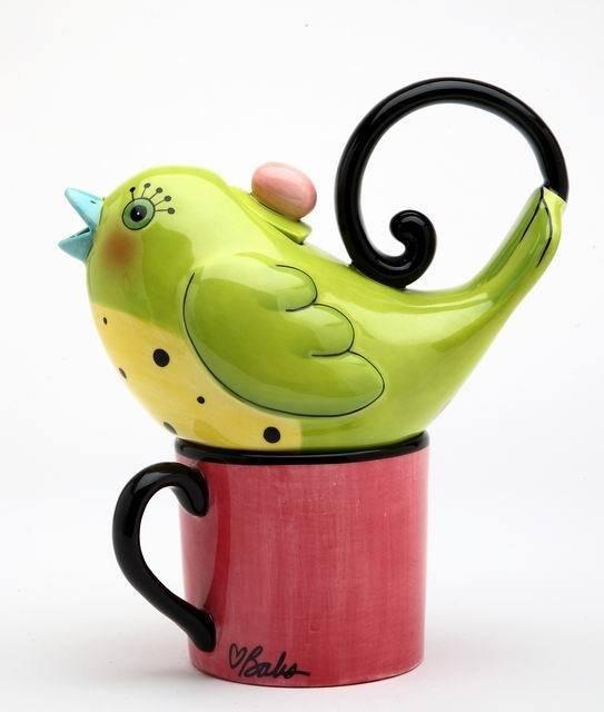 Whimsical Green Bird Tea For One