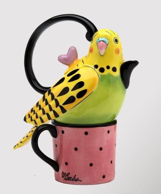Whimsical Yellow Parakeet Bird Tea For One
