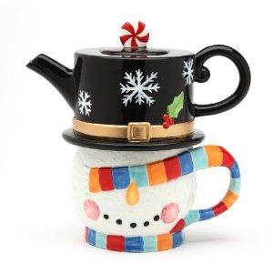 Christmas No Peeking! Snowman Tea For One (1 Teapot and 1 Cup)