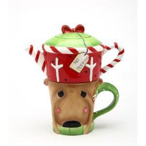 Christmas No Peeking! Reindeer Tea For One (1 Teapot and 1 Cup)