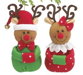 Mr & Mrs Reindeer Man shaped reindeer Christmas Tree Plush Ornaments (2 pcs)
