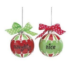 Set of 2 Naughty & Nice Ball Shaped Ornaments Christmas Santas List