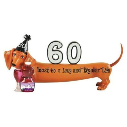 Hot Diggity Dachshund Happy Birthday 60 Long and Regular Dog Figurine
