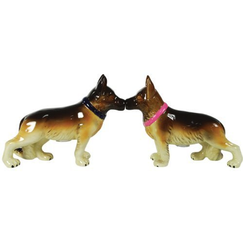 Mwah Magnetic German Shepherds Dog Couple Kissing Salt and Pepper Shaker