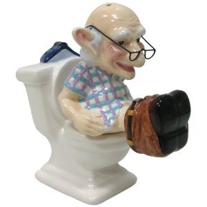 Coots Magnetic Coot Old Man Sitting On Toilet Salt and Pepper Shaker