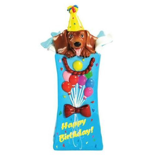 Hot Diggity Dachsund Dog Happy Birthday Surprise Mini Figurine or Cake Topper