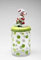 Ruby Collection Poodle Dog Glass Candy Jar or Cookie Jar