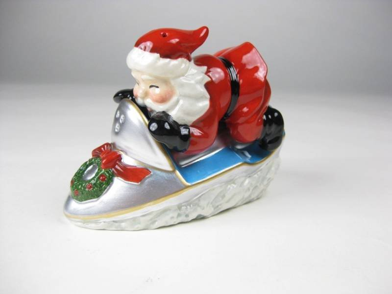 Christmas - Santa on Snowmobile Salt and Pepper