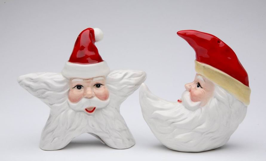 Christmas ~ Santa Star and Moon Salt and Pepper