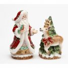 Victorian Harvest Santa and Reindeer Christmas Holiday Salt and Pepper