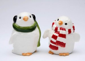 Snow White Penguin Couple Wearing Scarf Salt and Pepper