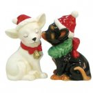 Mwah Magnetic Holiday Chihuahuas Dog Wearing Santa Hat Salt and Pepper Shaker