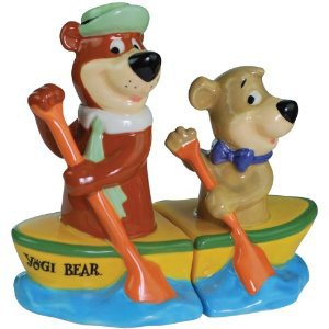 Cartoon Yogi Bear Yogi and Boo-Boo Canoe Magnetic Salt and Pepper