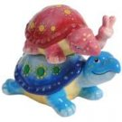 Peace Turtle - Blue and Red Piggyback Turtle Couple Salt and Pepper
