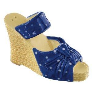 Blue and White High Heel Sandal Shoe Salt and Pepper