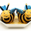 Whimsical Bee Salt and Pepper with Honeycombed Tray Salt and Pepper