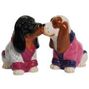 Boy and Girl Basset Hound Dog Wearing Robes Salt and Pepper