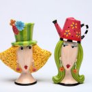 Whimsical Dolly mama Two Modern Ladies Gardening Salt and Pepper Figurine