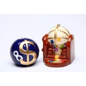 Bingo Ball Picker With Blue Bingo Money Ball Salt And Pepper Shakers