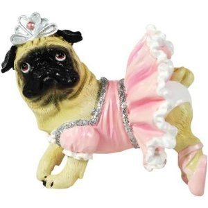 PugNacious Pug Dog Ballerina Mini Figurine Home Decor or Cake Topper