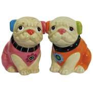 Whimsical Cozy Critters Pugs Dog Couple Salt and Pepper