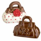 High Style Brown Purse and Red Polka Dot Purse With Flower Salt and Pepper