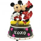 Mickey & Minnie Mouse Kissing & Hugging Musical Figurine with XOXO Inscription