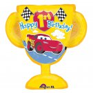 "Disney Happy 1st Birthday 27"" Lightning McQueen Car Trophy Shaped Balloon"