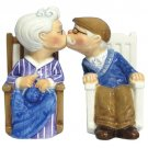 MWAH Elderly Man and Woman Rocking Chair Kissing Salt and Pepper