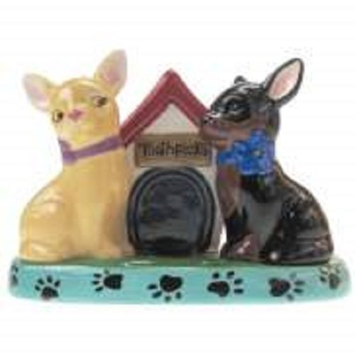 MWAH Chihuahua Dog Salt and Pepper and Dog House Shape Toothpick Holder Set