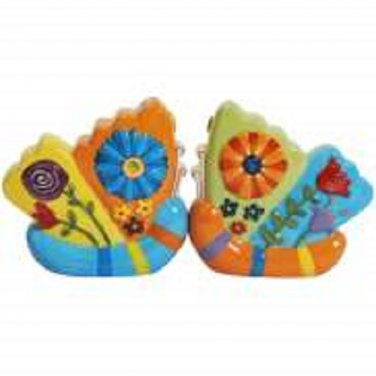 Whimsical Butterflies With Flower Decoration Salt and Pepper