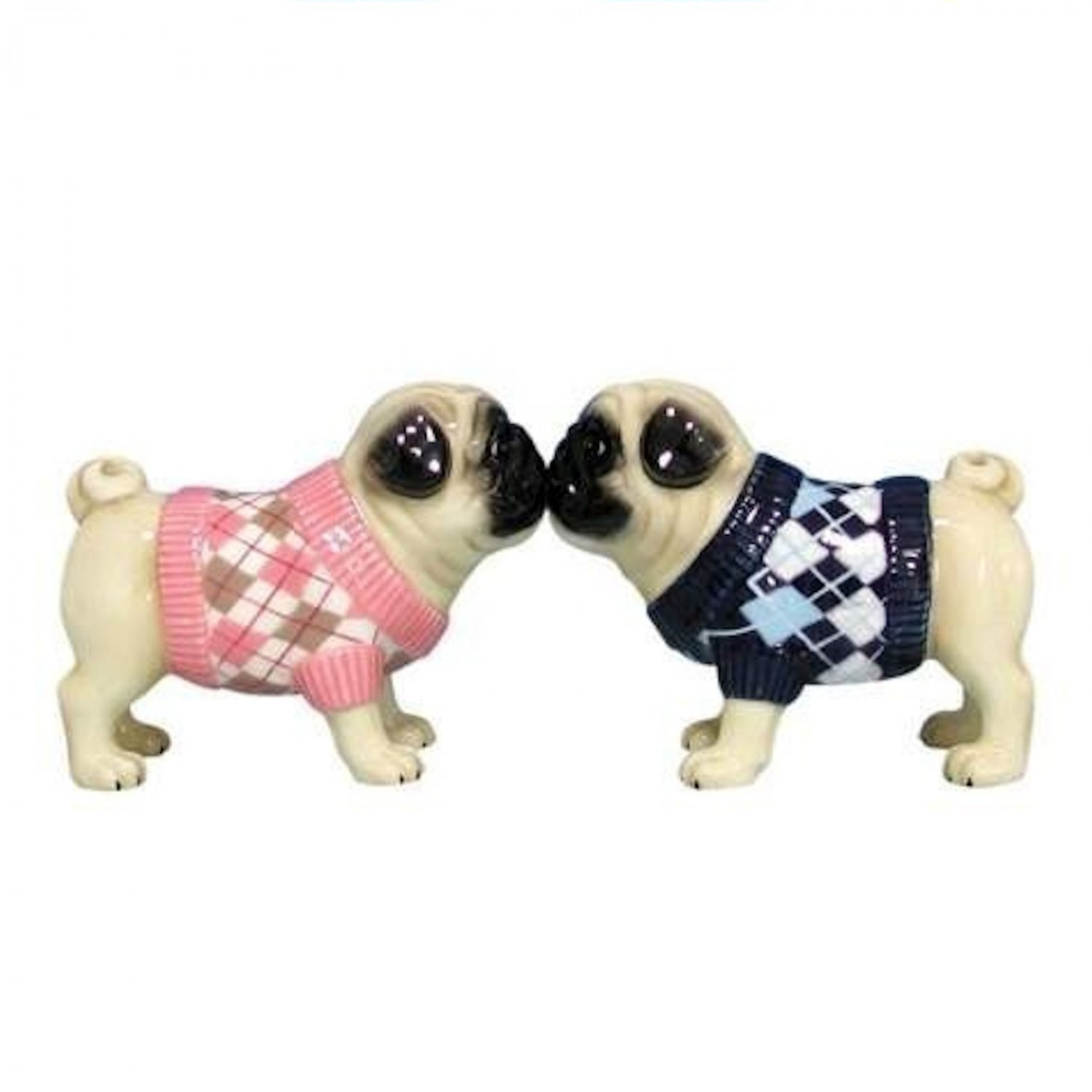MWAH Pug Couple Dog Wearing Sweater Salt and Pepper