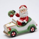 Christmas - Santa Claus Driving Car and Holding Wreath Salt and Pepper