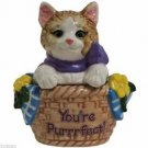"MWAH ""You're Purrrfect"" Cat on The Basket Salt and Pepper"