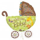 "Welcome Baby! Baby Buggy w Giraffe Tiger Butterfly 31"" Foil Balloon Party Supply"