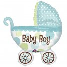 "Baby Boy! Polka Dot Baby Buggy 31"" Foil Balloon Party Supply"