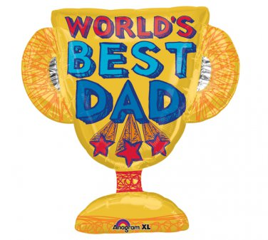 """Father Day """"World Best Dad"""" Trophy 25"""" Foil Balloon Party Supply"""