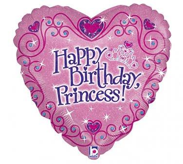 """Happy Birthday Princess Heart Shaped 18"""" Balloon Party Supply"""