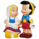 Pinocchio and Smiling Female Doll Salt and Pepper Shakers Kitchen Ware