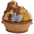 Disney The Lady & the Tramp Lady & Puppies in a Basket Salt Pepper Kitchen Ware