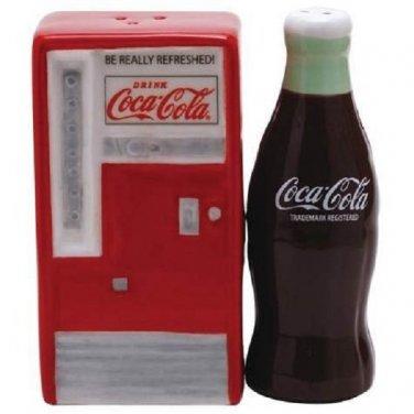 Coca Cola Coke Vending Machine & Bottle Magnetic Ceramic Salt & Pepper Shaker