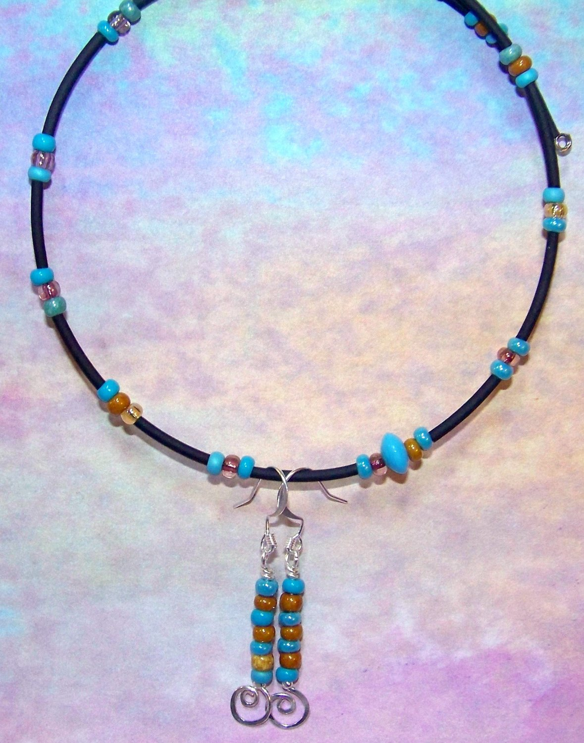 Turquois Earings and Choker Necklace