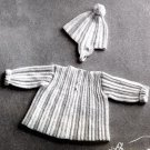 Crochet vintage baby jacket and cap PDF Pattern-011