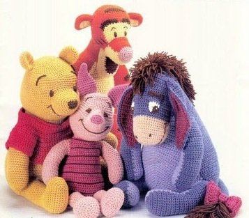 crochet PDF patterns-Winnie pooh,tiger,piglet,eeyore